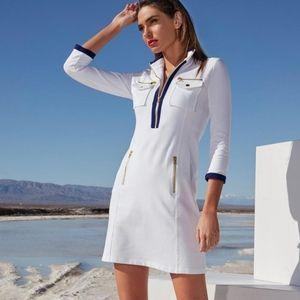 Boston Proper White Navy Chic Zip Sport Dress M